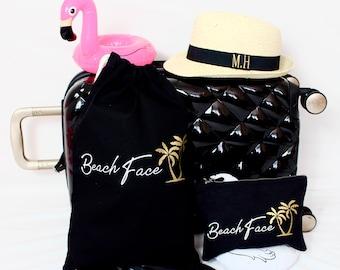 Beach Bag & Hat Set | Beach Hat | Shoe Bag | Makeup Bag | Maggie Makes | Travel Bag | Holiday Bag | Weekend Bag |