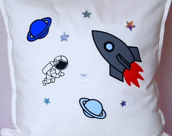 Personalised - Spaceship/Rocket Ship - Pillow | Kids | Children's Decor | Space | Birthday Present | Birthday| Toys | Kids| Maggie Makes