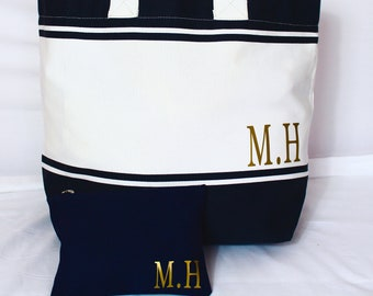 Beach Bag Set | Personalised Set | Tote Bag | Makeup Bag | Maggie Makes | Travel Bag | Holiday Bag | Weekend Bag |
