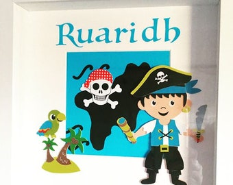 Personalised Pirate Shadow Box - Decor Kids Handmade Gifts Boys Pirate Handmade Customisable Cute