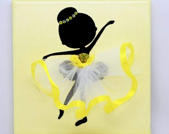 Personalised | Ballerina Canvas | Handmade | Maggie Makes | Gift | Ballet Dancer | Yellow |