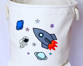Spaceship/Rocket Ship - Toy Bag | Kids Toy Tub | Children's Decor | Space | Birthday Present | Birthday| Toys | Kids| Maggie Makes