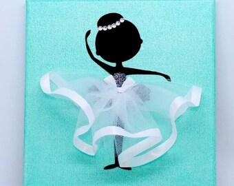 Personalised | Ballerina Canvas | Handmade | Maggie Makes | Gift | Ballet Dancer | Green |
