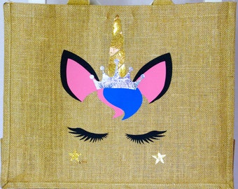 Personalised | Large Unicorn | Canvas Bag | Bag for Life | Jute Bag | Unicorn | Magical | Handmade | Maggie Makes | Gift || Maggie Makes