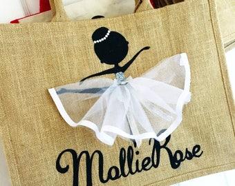 Large | Personalised | Canvas Bag | Bag for Life | Jute Bag | Ballerina | Ballet Dancer | Handmade | Maggie Makes | Gift |