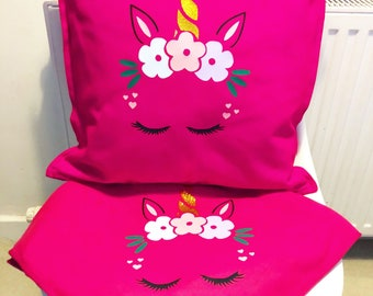 Personalised - Unicorn - Pillow & Blanket Set | Kids | Children's Decor | Sparkle | Birthday Present | Birthday| Toys | Kids | Girls