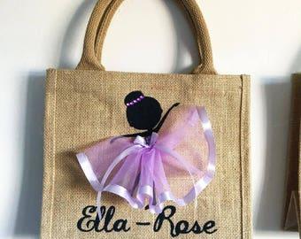 Small | Personalised |  Hessian Glitter Canvas Bag | Bag for Life | Jute Bag | Ballerina | Ballet Dancer | Handmade | Maggie Makes | Gift |