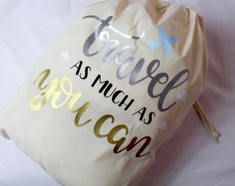 Travel Bag | Travel As Much As You Can | Shoe Bag | Maggie Makes | Beach Bag | Travel Bag | Holiday Bag |