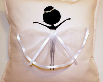 White | Personalised |  Ballerina | Cushion | Ballerina | Ballet Dancer | Decor Kids | Handmade Gifts | Ballet Dancer
