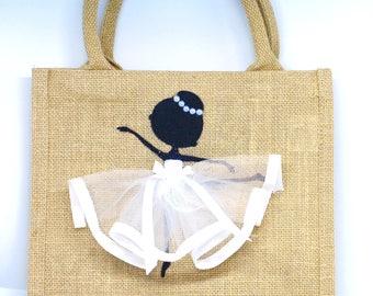 Small | Hessian Glitter | Canvas Bag | Bag for Life | Jute Bag | Ballerina | Ballet Dancer | Handmade | Maggie Makes | Gift |