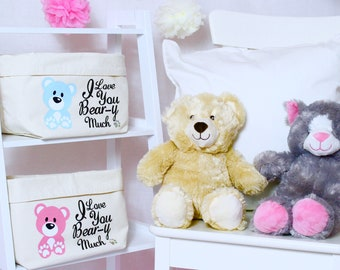 Teddy Bear - Personalised Changing Bag - set of two | Kids Toy Tub | Children's Decor | Teddies | Birthday Present | Birthday| Toys | Kids