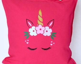 Personalised - Unicorn - Pillow | Kids | Children's Decor | Sparkle | Birthday Present | Birthday| Toys | Kids | Girls| Maggie Makes