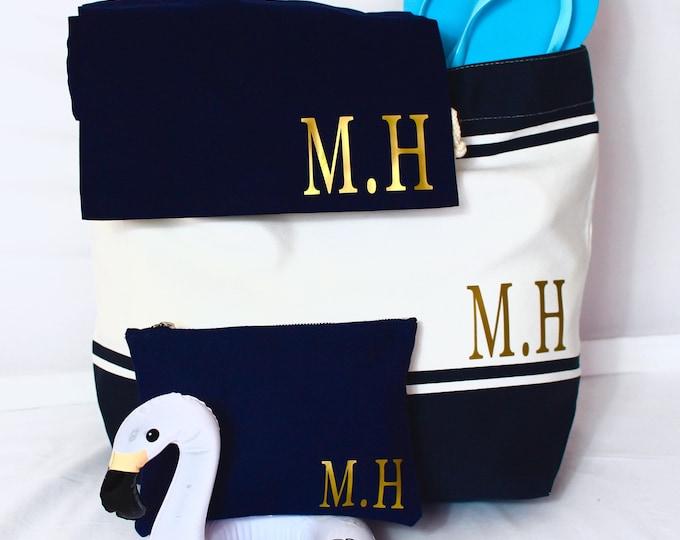 Featured listing image: Beach Bag Set | Personalised Set | Tote Bag | Shoe Bag | Makeup Bag | Maggie Makes | Travel Bag | Holiday Bag | Weekend Bag |