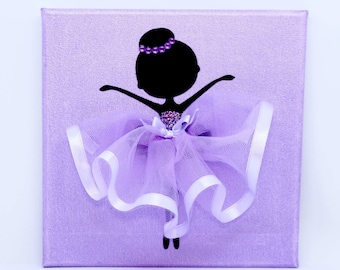 Ballerina Canvas | Handmade | Maggie Makes | Gift | Ballet Dancer | Purple |