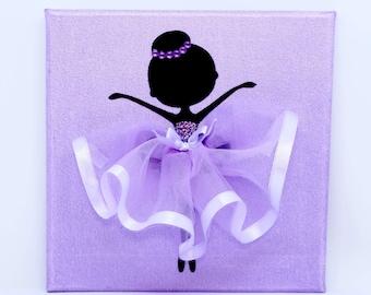 Personalised | Ballerina Canvas | Handmade | Maggie Makes | Gift | Ballet Dancer | Purple |