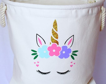 Unicorn - Toy Bag | Kids Toy Tub | Children's Decor | present for her | Birthday Present | Birthday| Toys | Kids || Maggie Makes