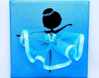 Personalised | Ballerina Canvas | Handmade | Maggie Makes | Gift | Ballet Dancer | Blue |