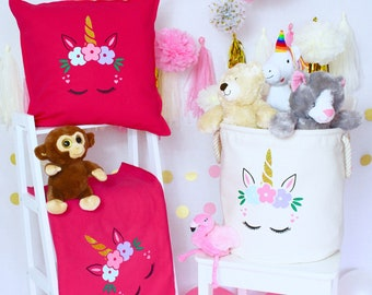Personalised - Unicorn -Tub, Pillow & Blanket Set | Kids | Children's Decor | Sparkle | Birthday Present | Birthday| Toys | Kids | Girls