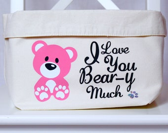 Pink Teddy Bear - Personalised Changing Bag | Kids Toy Tub | Children's Decor | Teddies | Birthday Present | Birthday| Toys | Kids