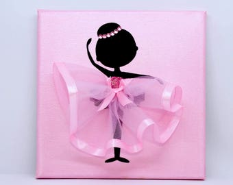 Ballerina Canvas | Handmade | Maggie Makes | Gift | Ballet Dancer | Pink |