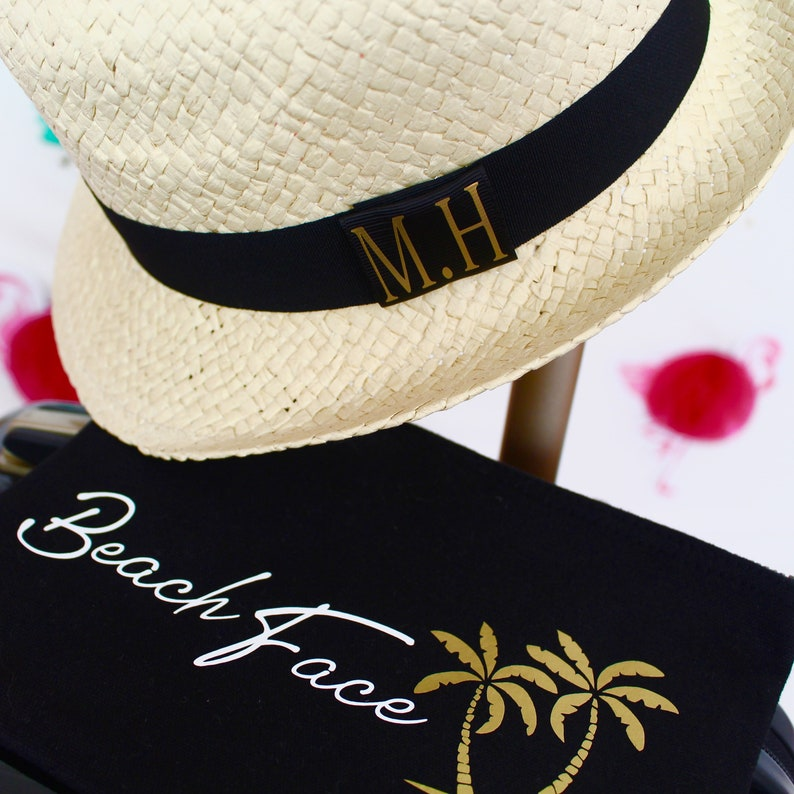0084ffb4b63af6 Personalised Straw Trilby Hat Maggie Makes Beach Hat   Etsy