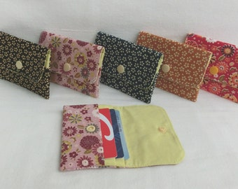 Door Loyalty Cards case, credit card / Blue Card or Business cards, Fleuri cotton fabric storage pouch, Women's Gift