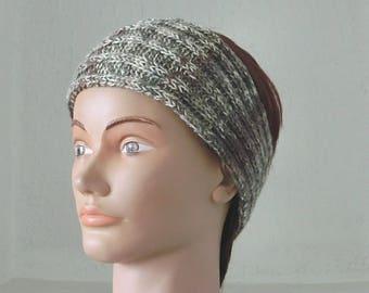 Headband - Headband - headband - female - teenager - wool - knit stitch fancy - Beige Brown - hand knit ombre colors