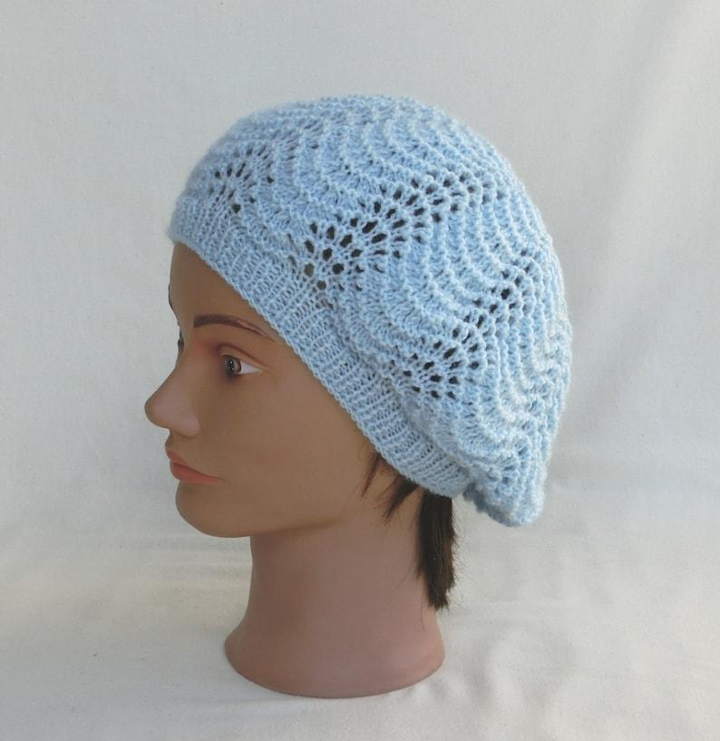 afcb44a771b Beret beanie fashion woman wool light blue knit lace