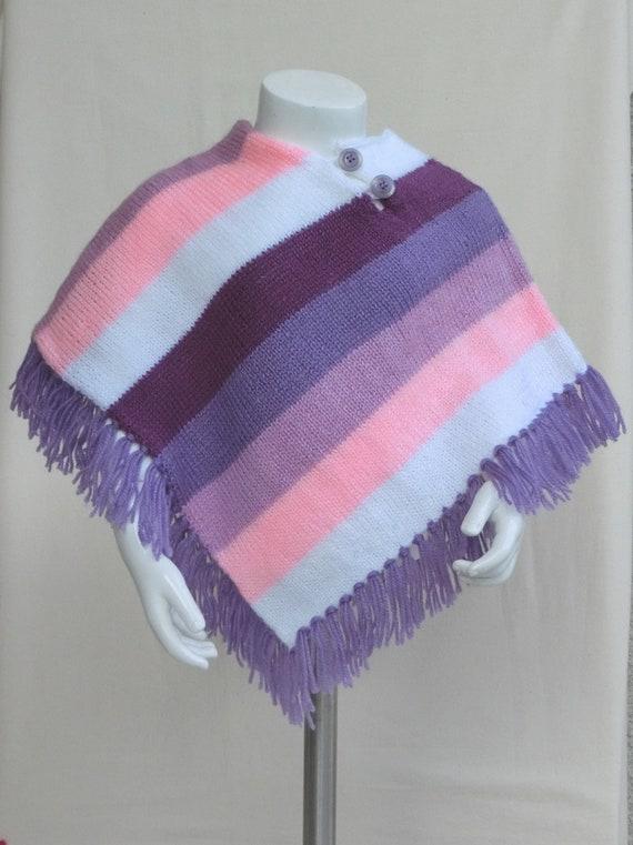 Poncho Fille Taille 2436 Mois Pull Tunique Tricot Chauffe épaules Bébé Enfant En Laine Rosemauvevioletblanc Tricoté Main
