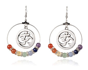 Creole earrings omh pearls 7 chakras 65 mm