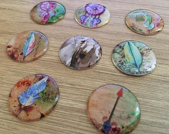 """set of 8 resin cabochons 25 mm """"catches dreams"""""""