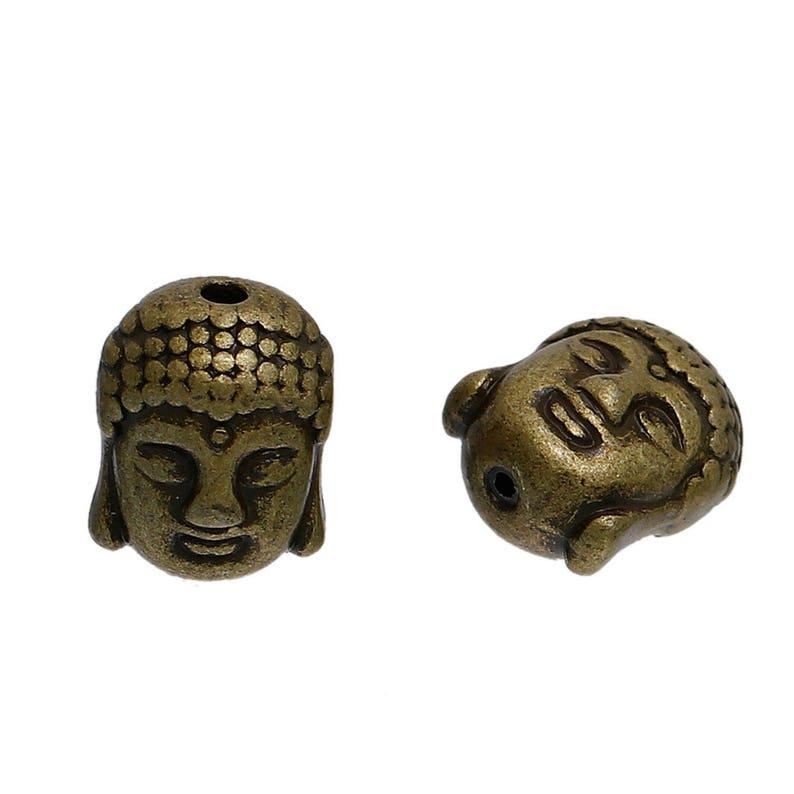 set of 10 Tibetan silver Buddha head beads 11 mm bronze