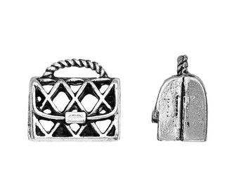 set of 5 3D 15 mm silver purse charm