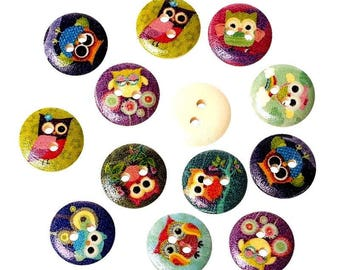 20 buttons wood OWL owls of all colors 15 MM 2 holes