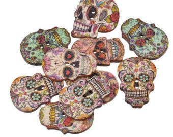 Set of 10 24 x 17.5 mm skull wooden buttons