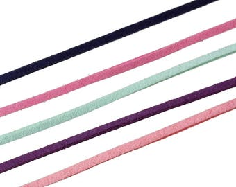 set of 5 cords Velvet Imitation suede mixed 2.9 mm x 90 cm