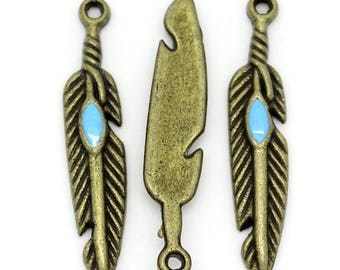 set of 10 charms pendants feather inlaid turquoise bead