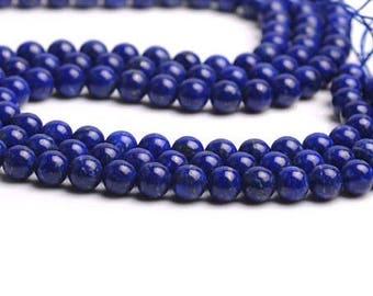 row 45 natural Lapis Lazuli beads 4 mm