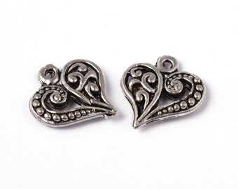 set of 10 heart 14 x 13 mm antique Tibetan silver pendants