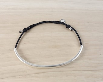 cord and sterling silver tube bracelet