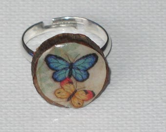 Butterfly Adjustable ring polymer clay and wood