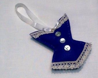 Retro blue corset pin cushion or door decor