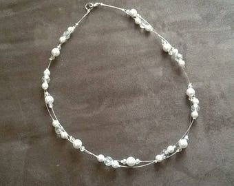 Two row cultured pearl imitation necklace