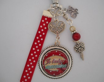"""Bag charm, door keys/GODMOTHER/I love godmother """"/ year end gift/party / birthday/christening/thank you"""""""