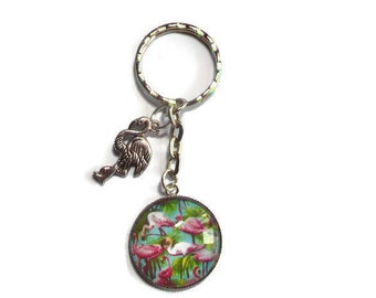 Door keys/cabochon picture/Flamingo tropical exotic / gift / birthday / party/thanks