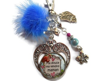 "Bag charm, door keys/MOM gift / ""My sweet my dear MOM"" /les wonders of Jay/thanks/day/birthday/Christmas"