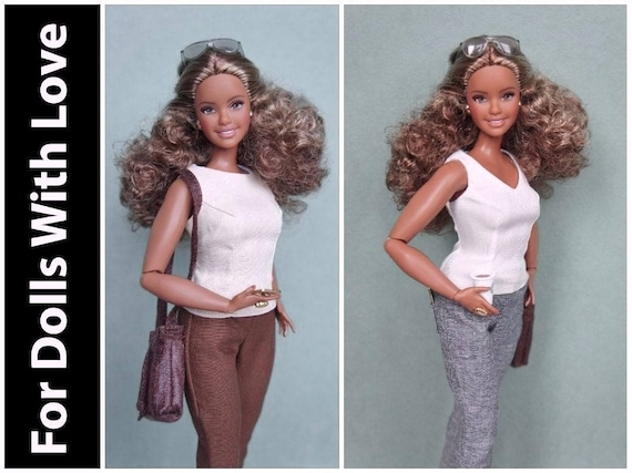 NEW CURVY Barbie BROWN  Pants for Barbie doll