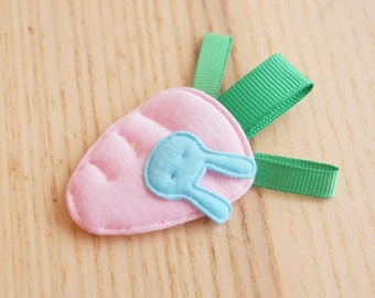 Soft Pink Carrot Snap Clip and Blue Bunny, Baby/Infant/Toddler hair clips, Tiny/Mini/Fine Hair, Easter Rabbit-Julia Craft Australia