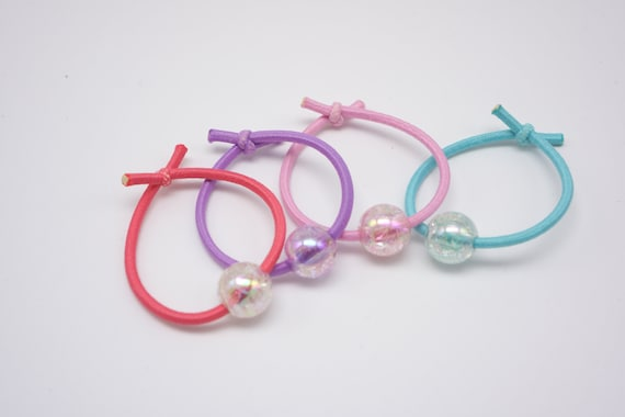 Set of 4 Little Cute Ball Beaded Hair Ties Hand tied No glue  ee04c760bc5