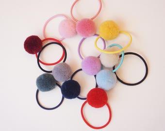 U pick 5 Pom pom Hair Tie, Baby/Toddler/Girl Hair ties, Tiny/Mini/Fine Hair Elastics, princess birthday party-Julia Craft Australia